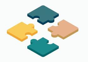 quebra-cabeça isométrica de ilustração plana de quatro peças. vetor