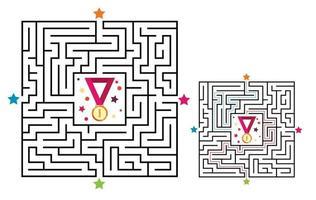 jogo labirinto de labirinto quadrado para crianças. enigma da lógica do labirinto vetor