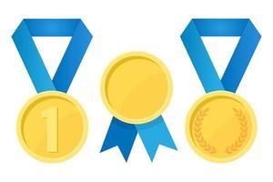 ilustração simples da medalha de ouro com fitas para os vencedores vetor