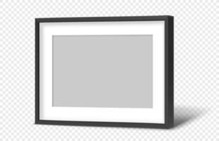 moldura preta moderna horizontal com fundo transparente vetor