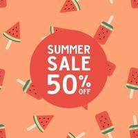 venda de verão com padrão sem emenda de sorvete de melancia. vetor