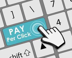 conceito plano de pagar por clique para marketing na web. ilustração vetorial vetor
