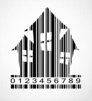ilustração em vetor imagem casa de halloween com código de barras