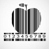 ilustração em vetor imagem código de barras maçã