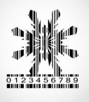 ilustração em vetor imagem floco de neve com código de barras