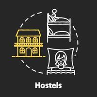 ícone de conceito de cor de giz rgb hostels vetor