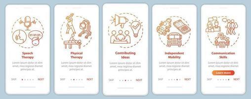 tela da página do aplicativo móvel de integração do programa inclusivo com conceitos vetor
