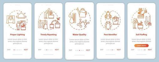 tela da página do aplicativo móvel com conceitos para flores caring vetor