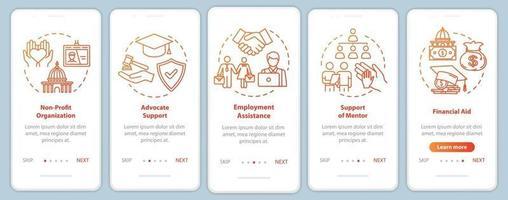 sociedade inclusiva integrando a tela da página do aplicativo móvel com conceitos vetor
