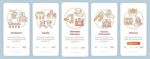 tela da página do aplicativo móvel de integração educacional inclusiva com conceitos vetor