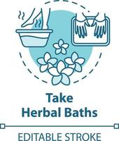 Ícone do conceito de tomar banhos de ervas vetor