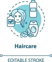 ícone do conceito de cuidados com os cabelos, uso de cosméticos naturais, saúde e beleza vetor