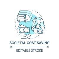 ícone do conceito de economia de custos ev societal. vetor