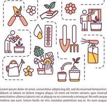 ícone do conceito de plantio interno com texto vetor