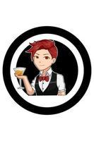 ilustração dos desenhos animados do menino barman de cabelo vermelho vetor