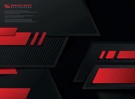 vetor abstrato tecnologia gradiente vermelho preto modelo geométrico.