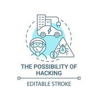 ícone do conceito de possibilidade de hacking autônomo. vetor