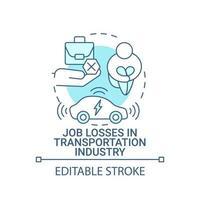 perdas de empregos no ícone do conceito da indústria de transporte. vetor