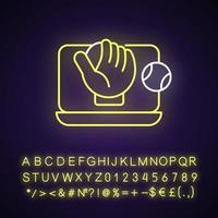ícone de luz de néon de jogos de beisebol online vetor