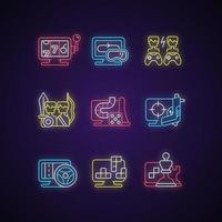 conjunto de ícones de luz de néon de jogabilidade online vetor