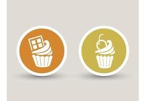 ícones de cupcake assinam ilustração vetor