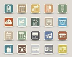 ícones de construção isolados no fundo vetor