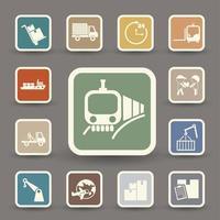 ilustração do conjunto de ícones de transporte e logística vetor