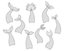 conjunto de caudas de sereia desenhadas à mão em estilo doodle vetor