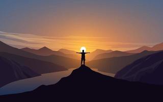 silhueta de homem em pé no topo da colina ao pôr do sol vetor
