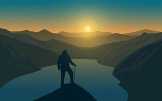 silhueta do homem na colina olhando o pôr do sol vetor