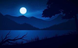 ilustração de montanha e lago com luar vetor