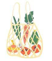 saco de barbante com legumes. saco de malha eco cheio de vegetais. vetor