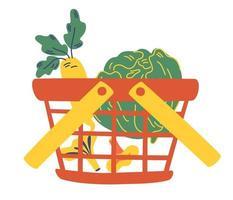 cesta de compras de supermercado cheia de vegetais frescos. vegetal orgânico vetor