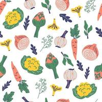 padrão sem emenda com legumes. vegan, fazenda, fundo natural. vetor