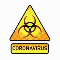 sinal de proteção biológica. a propagação da corona. perigo simbólico vetor