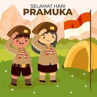 dia de pramuka com escuteiro saudando a bandeira da Indonésia vetor