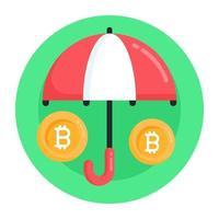 seguro e proteção bitcoin vetor