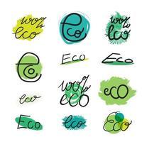 ecologia desenhada à mão e 100 por cento natural vetor