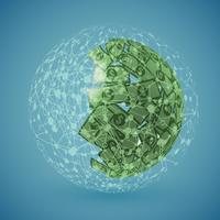 Globo verde feito de dinheiro, ilustração vetorial