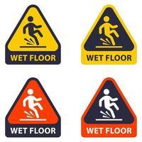 chão suavemente molhado. queda de uma pessoa devido ao piso molhado. vetor