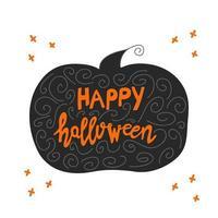 letras de feliz dia das bruxas em silhueta de abóbora com elementos de doodle vetor
