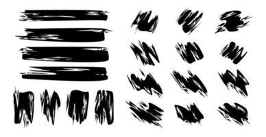 diferentes traços de tinta preta em um fundo branco - vetor