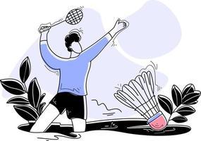 badminton ilustração plana conceito jogos esporte vetor