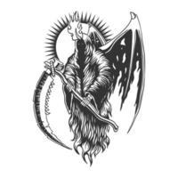ilustração em vetor ceifeira asa do diabo