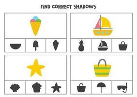 encontrar a sombra correta dos elementos de verão. jogos de cartas de clipe para impressão vetor