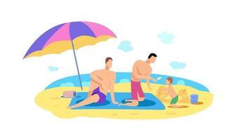 família relaxando na praia à beira-mar vetor