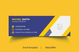 negócios geométricos profissionais e assinatura de e-mail corporativo. vetor