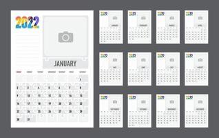 planejador colorido do calendário para 2022. a semana começa no domingo. vetor. vetor