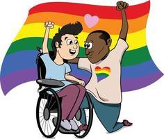 um casal gay de raça diferente com deficiência negro branco apaixonado. vetor