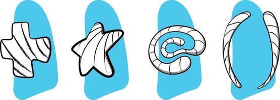 sinais aleatórios símbolos doodle e mancha de forma abstrata de estilo grunge vetor